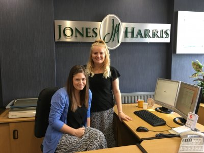 Emily Swarbrick (left) and Sarah Stephenson (standing), new receptionists at Jones Harris Accountants