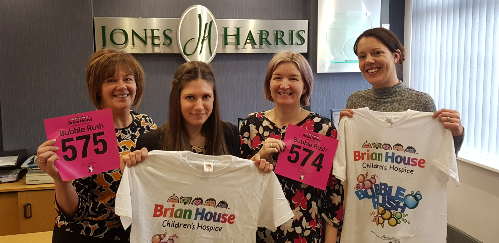 A group of ladies is flying the flag for Jones Harris, when they take part in the annual Bubble Rush 5K event this April.