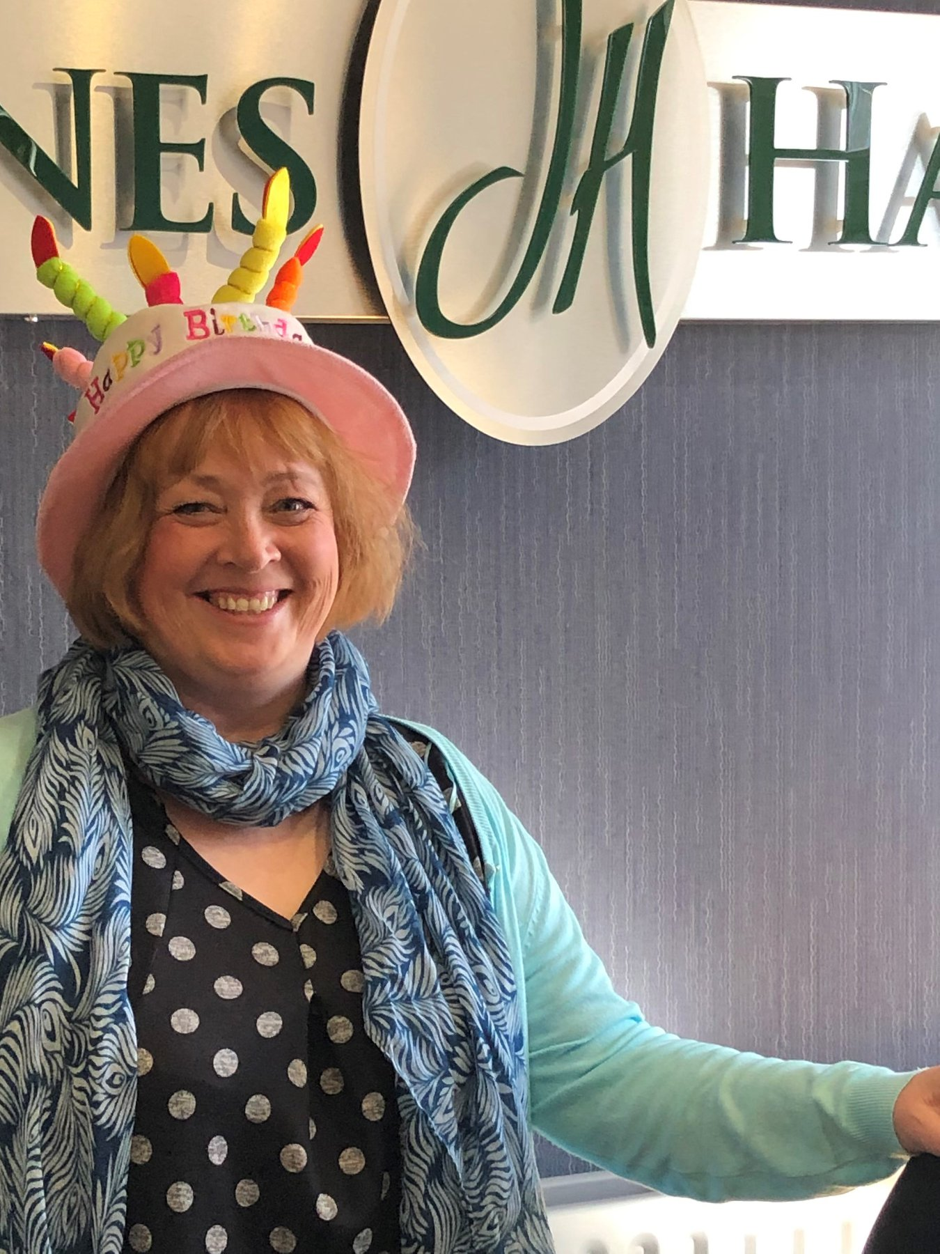 Cath Wigley, celebrating April Birthdays