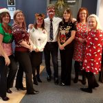 Group of staff at Jones Harris on Christmas Jumper day