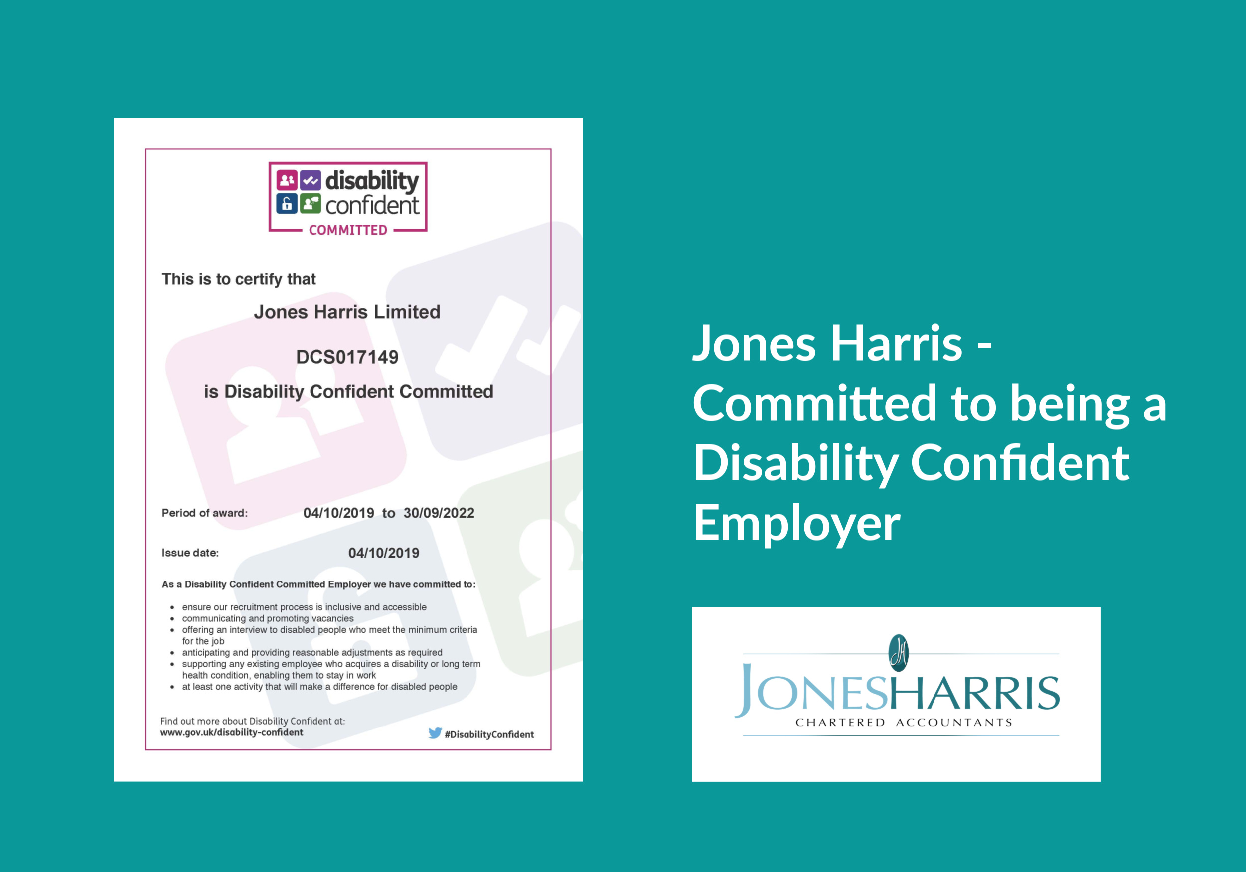 Jones Harris – A Disability Confident Employer
