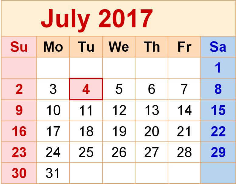 Tax dates and deadlines July 2017