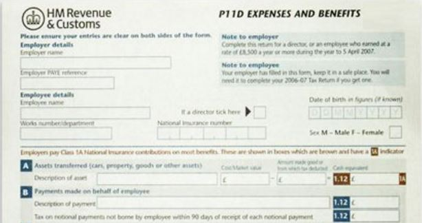 P11D Expenses and Benefits form