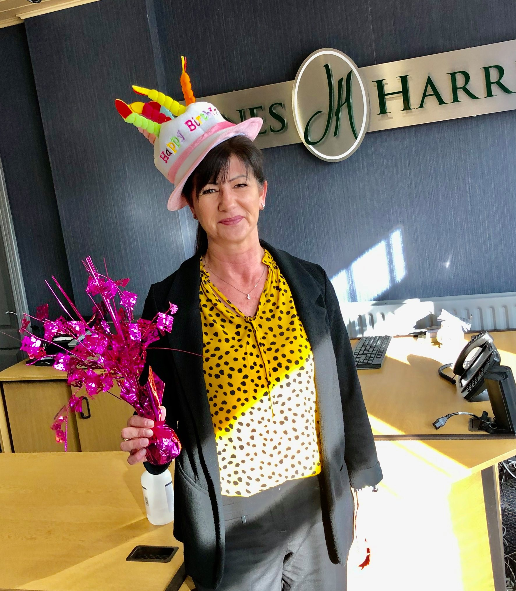 Joanne Walmsley, one of the team celebrating April brithdays