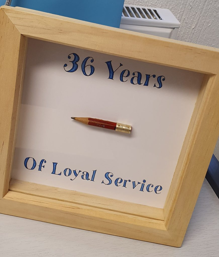 Steve's loyal pencil, framed and preserved for posterity